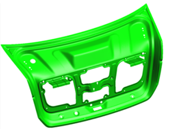 After compensation is applied the decklid inner has reliable part shape, even with significant input noise variation